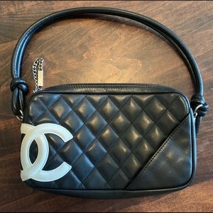Chanel Cambon Pochette Bag white C's authentic